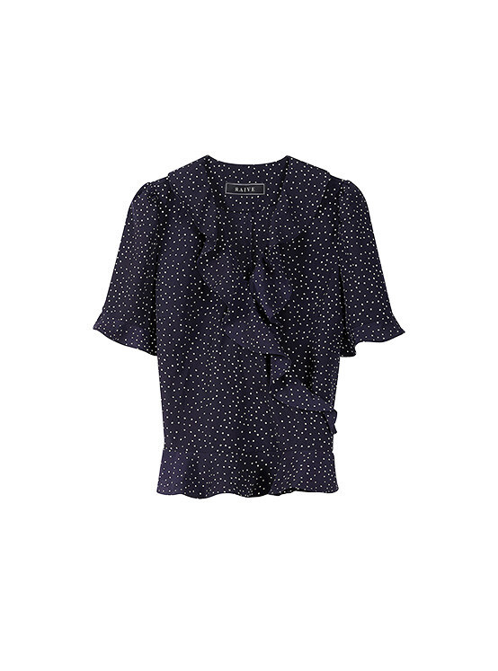 Frill Short Sleeve Blouse in Navy_VW0SB1170