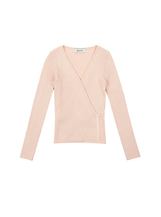 V Neck Wrap Knit in L/Pink