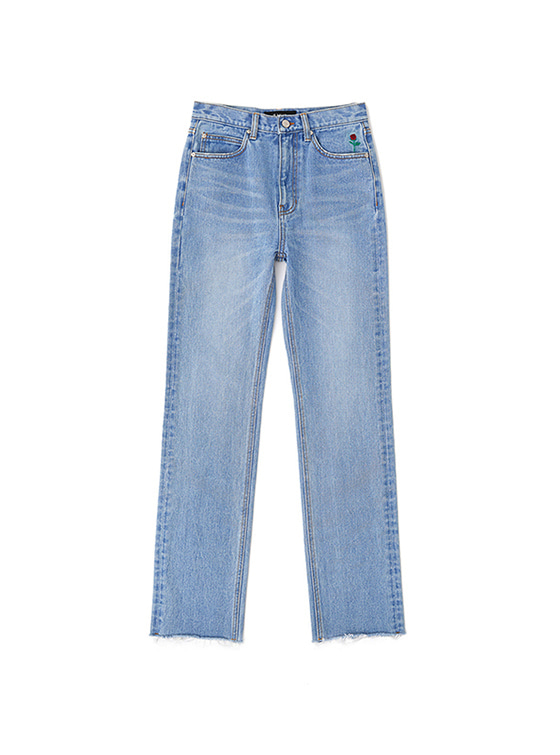 Rose Pocket Straight Jeans in Blue