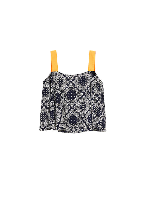 Paisley Flare Sleeveless in Navy VW8ME0610