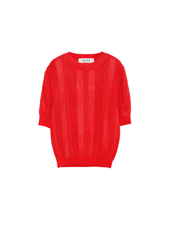 See-Through SS Knit in Red VK8MP0690