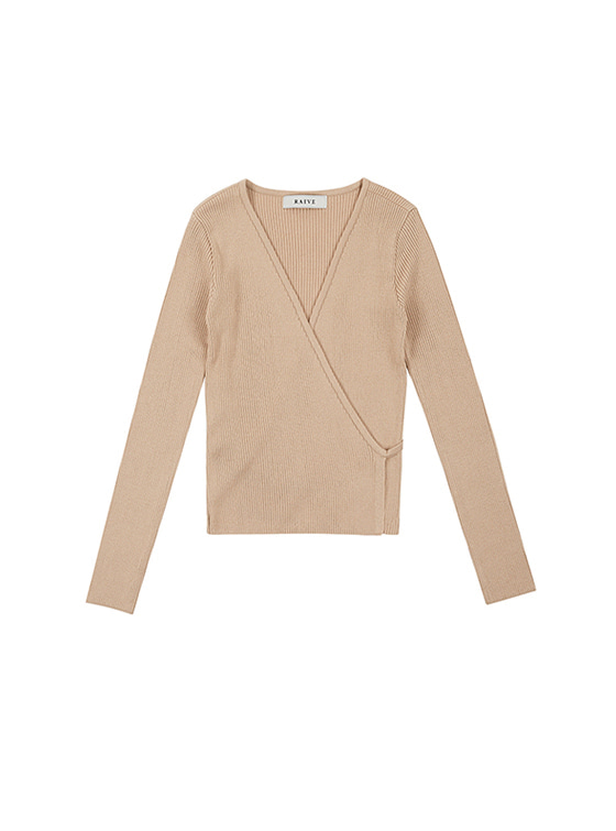 V Neck Wrap Knit in L/Beige