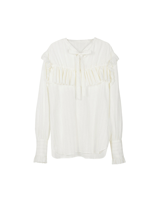 Gauze Pleats Shirt in Ivory VW8SB0500