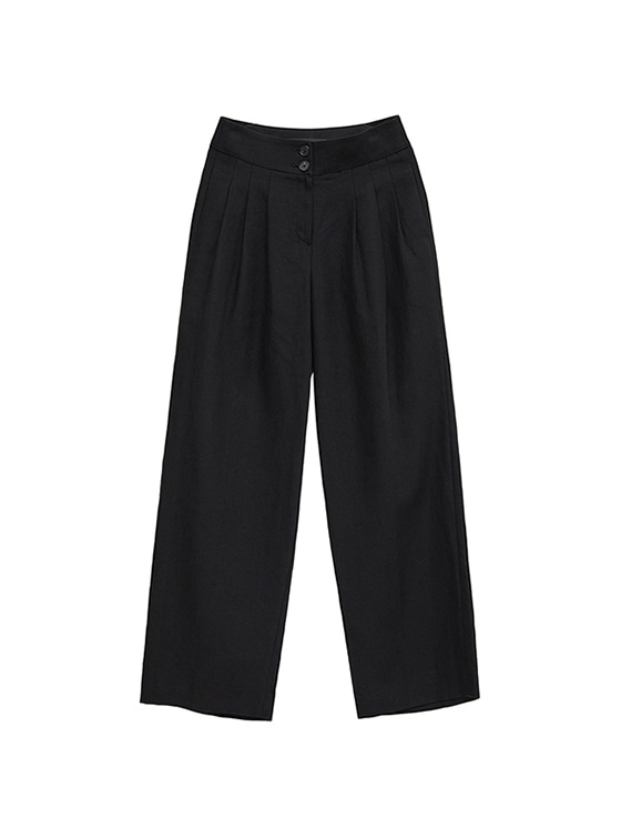 Linen Wide Pants in Black VW8ML0770
