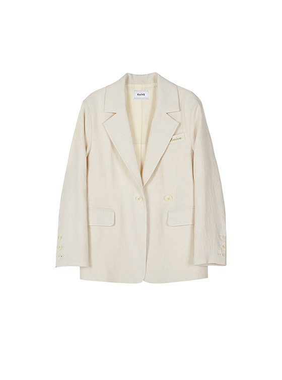 2Way Single Linen Jacket in Ivory VW8SJ0160