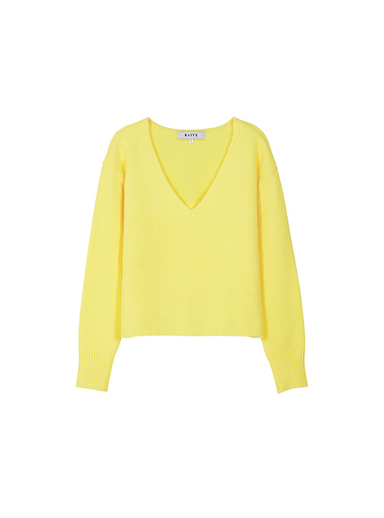 Textured V Neck Knit in Yellow