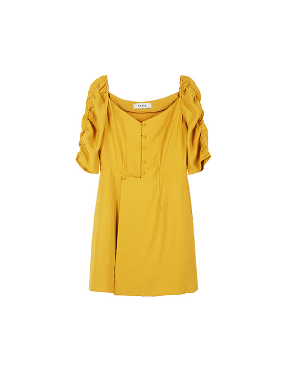 Shirring Sleeve Dress in Mu