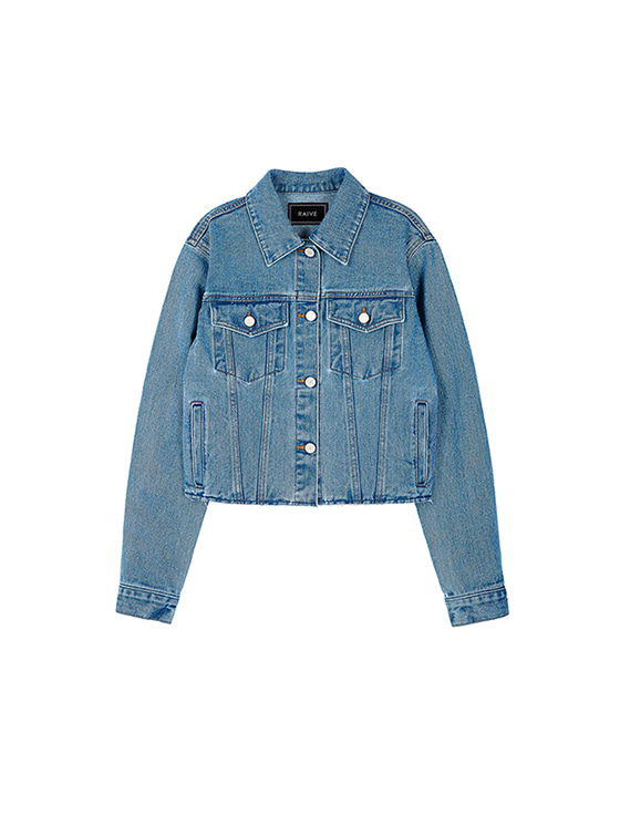 Crop Denim Jacket in Sky Blue VJ8SJ0180