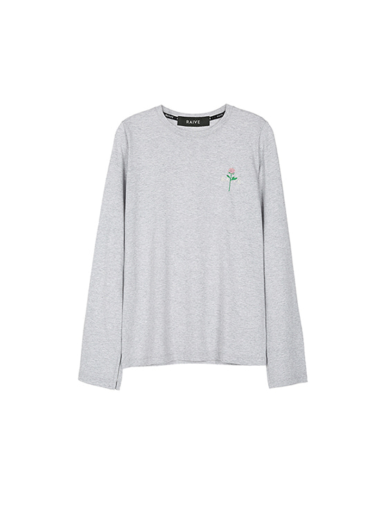 Rose Slit Long Sleeve Tee in Grey VW8SE0590