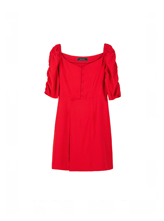 Shirring Sleeve Dress in Red