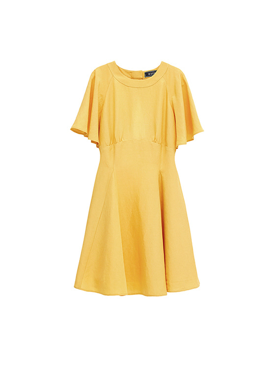 Linen Flare dress in Yellow VW8MO0270