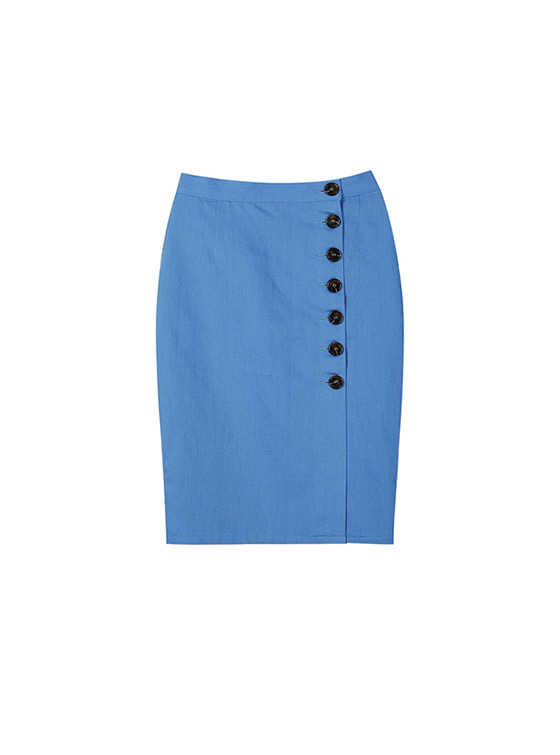 Linen Button Skirt in Sky Blue VW8SS0820