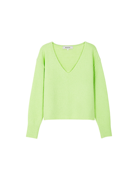 Textured V Neck Knit in L/Green