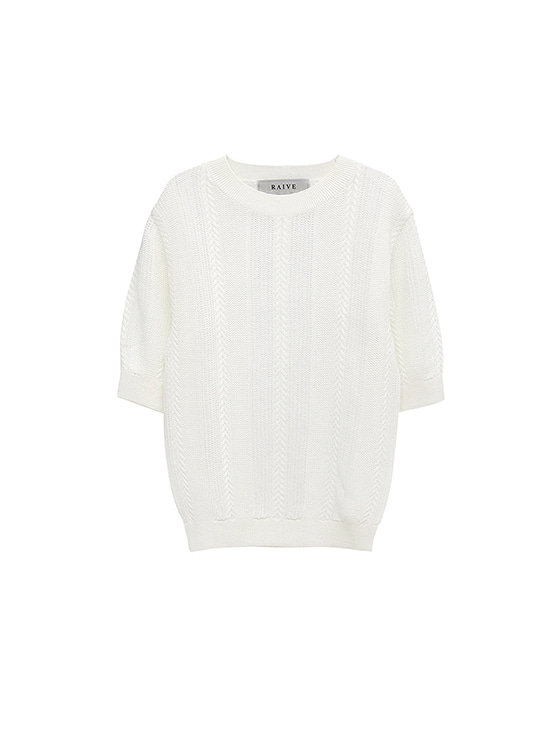 See-Through SS Knit in White VK8MP0690
