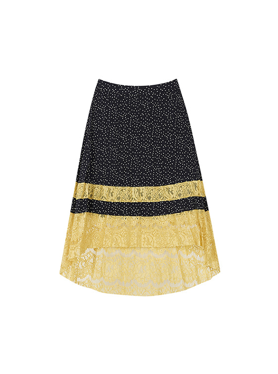 Dot Pleats Lace Skirt in Navy