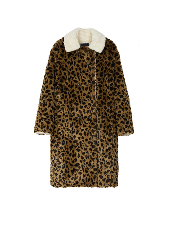 Leopard Faux Fur Coat in Brown VW8WH0100