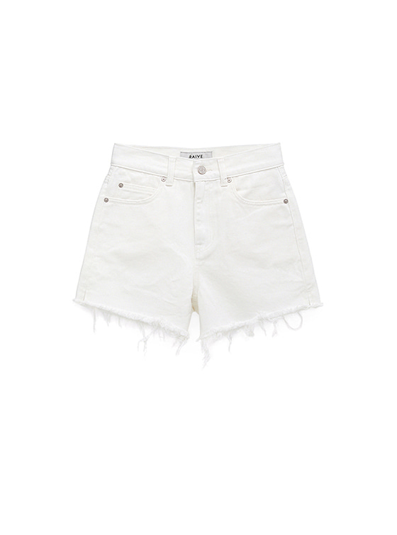 High Waist Denim Shorts in White VJ8ML0780