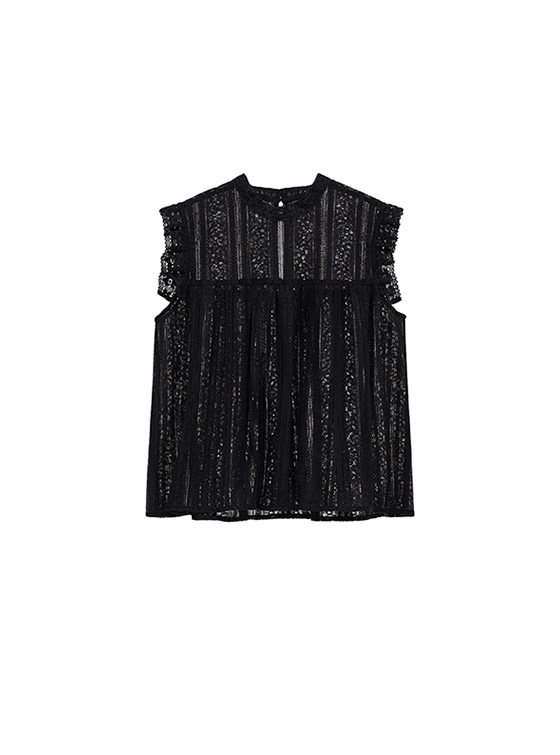 Lace Frill Blouse in Black