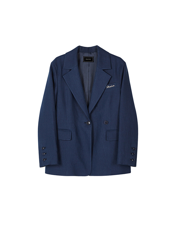 2Way Single Linen Jacket in Navy VW8SJ0160