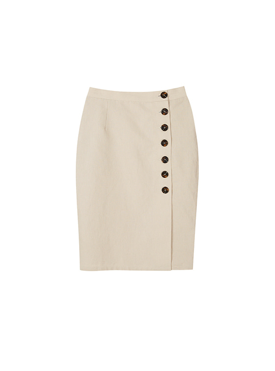 Linen Button Skirt in Beige VW8SS0820
