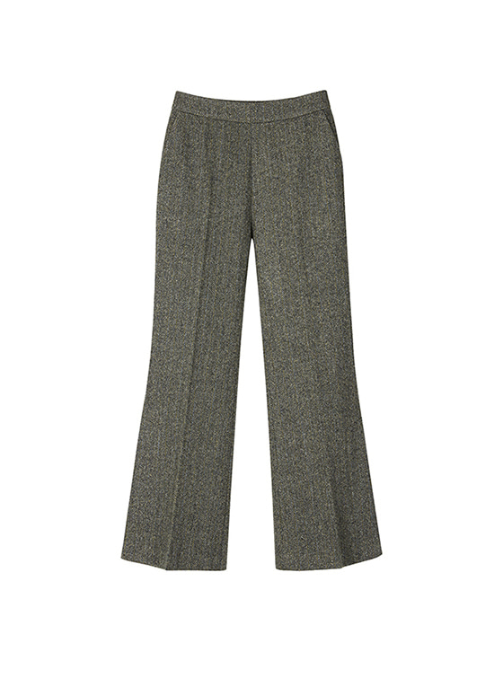 Herringbone Slit Slacks in Grey+Black