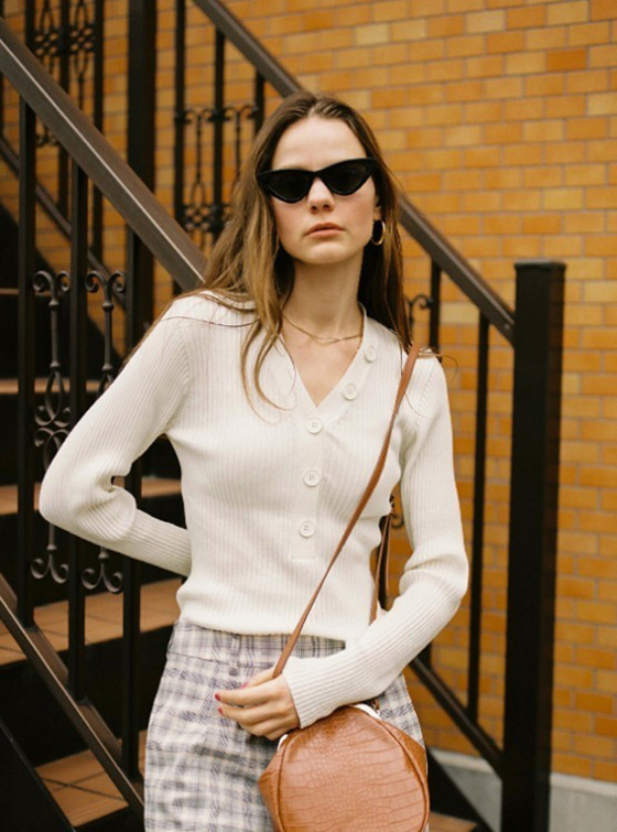 Button V Neck Knit in Ivory