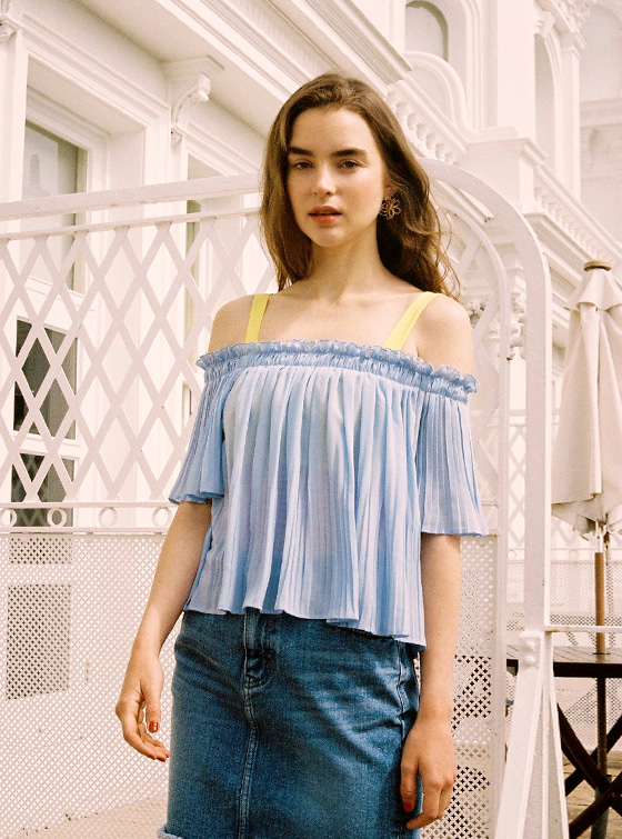Off the Shoulder Pleated BL in S/Blue VW9MB0900