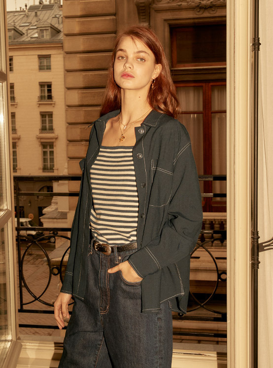 Oversized Stitched Shirt in D/Navy_VW0SB1060