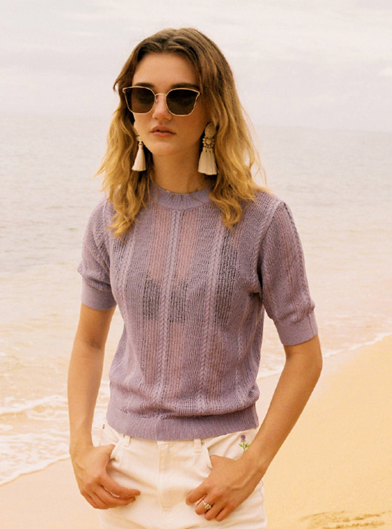 See-Through SS Knit in Light Purple VK8MP0690