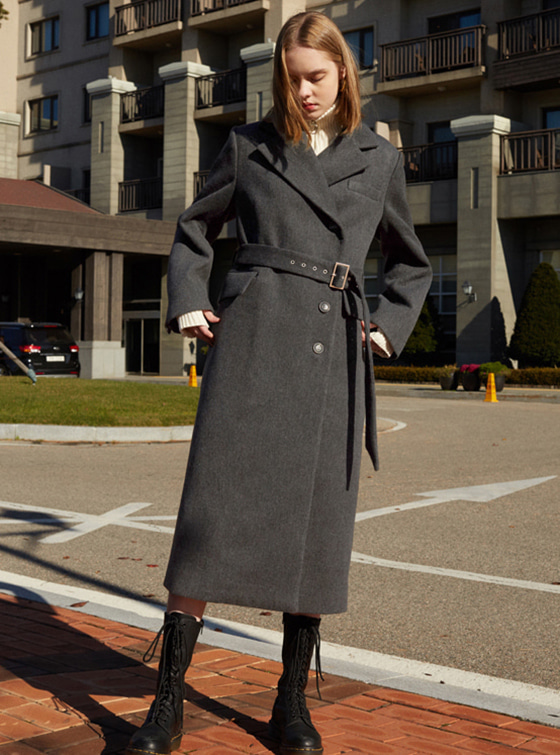 Maxi Long Belted Coat in D/Grey VW8WH0080