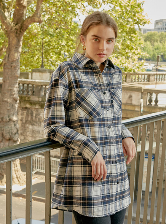 Oversized Check Shirt in Br+Ch