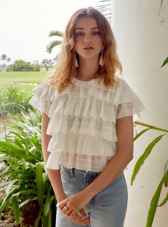 Frill Layered Blouse in White VW8MB0370