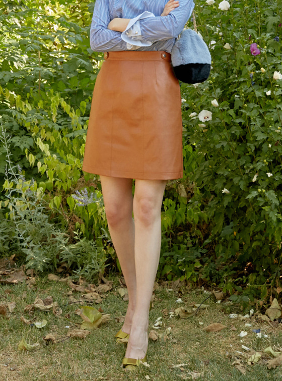 Synthetic Leather Skirt in Brown