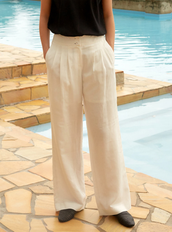 Linen Wide Pants in White VW8ML0770