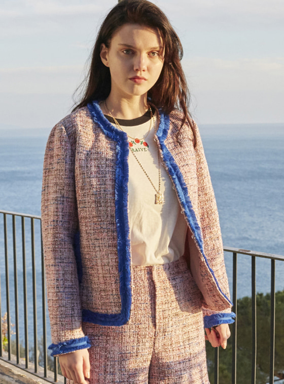 Loose Fit Tweed Jacket in Pink VW8SJ0170